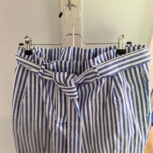 Striped tie waist ankle trousers